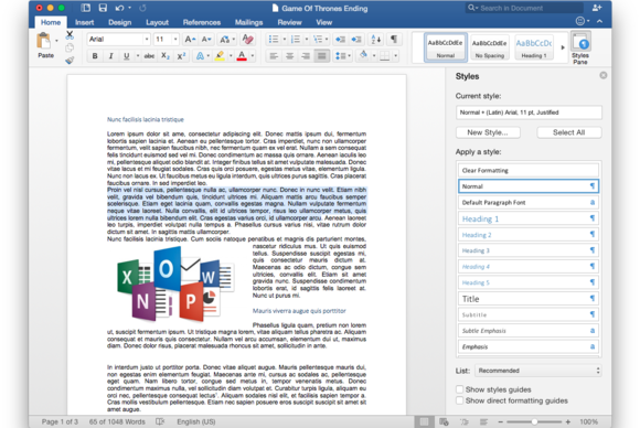 Office 2016 for Mac: Styles pane