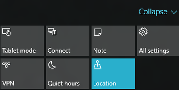 windows 10 action center quick access buttons