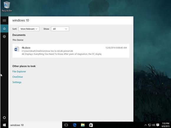 windows 10 no web results