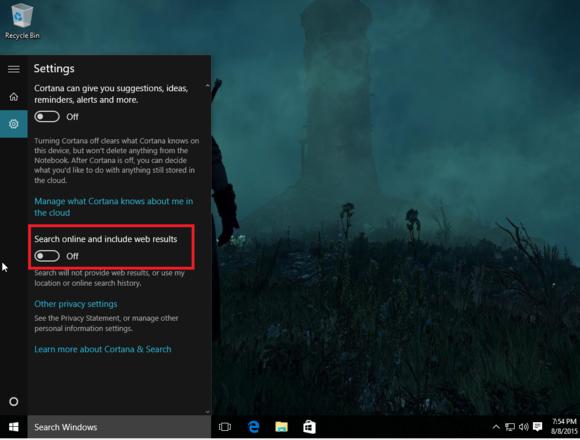 windows 10 search online