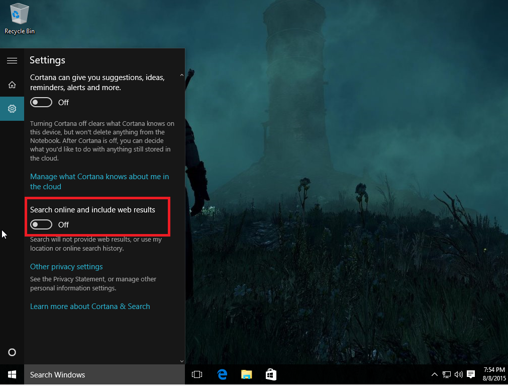 windows 10 search online turn this off too