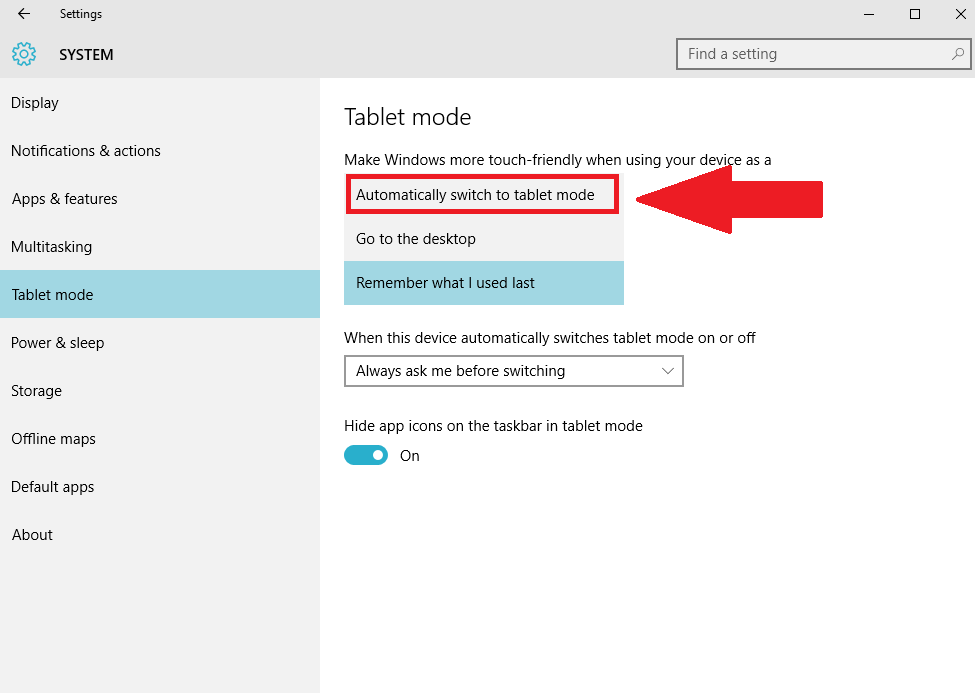 How to boot into windows 10s tablet mode every time you start your windows 10 settings tablet mode ccuart Choice Image