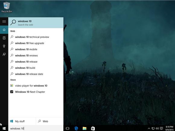 windows 10 web search results