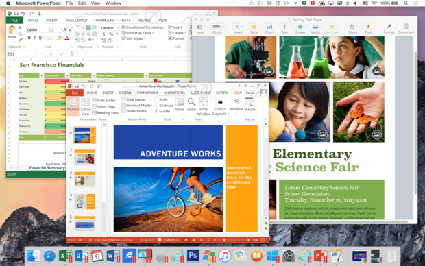 windows and mac apps side by side in parallels desktop 11