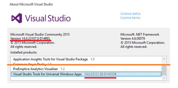 Windows 10 IoT Core check Visual Studio version