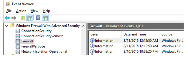 Check Windows Firewall logs in Event Viewer