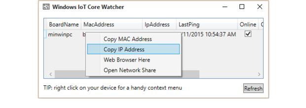 Running the Windows IoT Core Watcher app