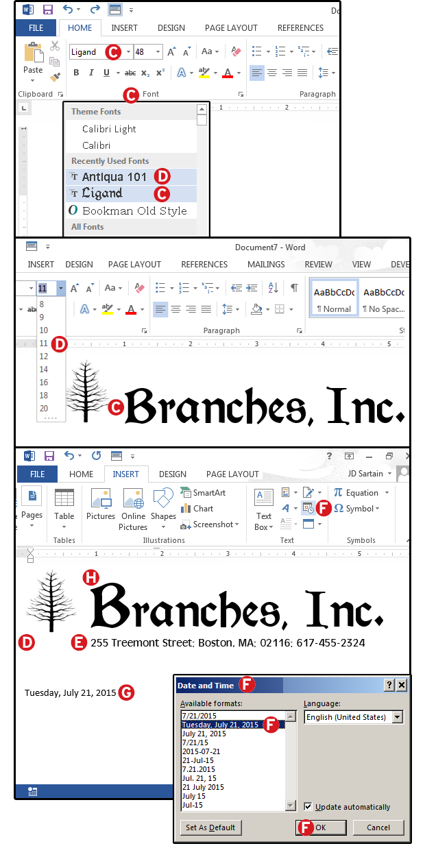 record a macro that creates company letterhead continued