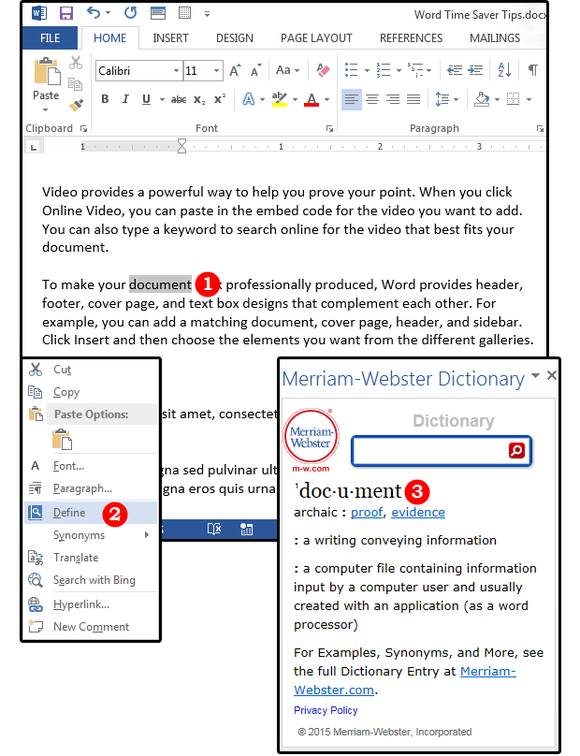 02 use the define feature for quick definitions