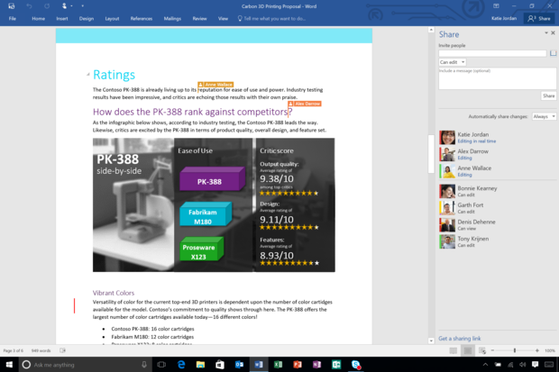 Office 2016 word 2016 real time typing