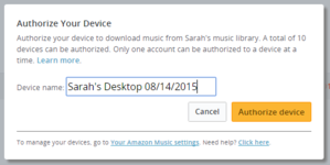 amazon authorize device