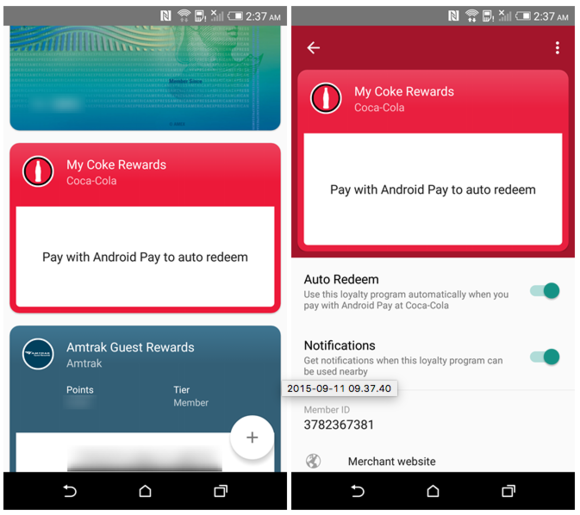 android pay loyalty cards