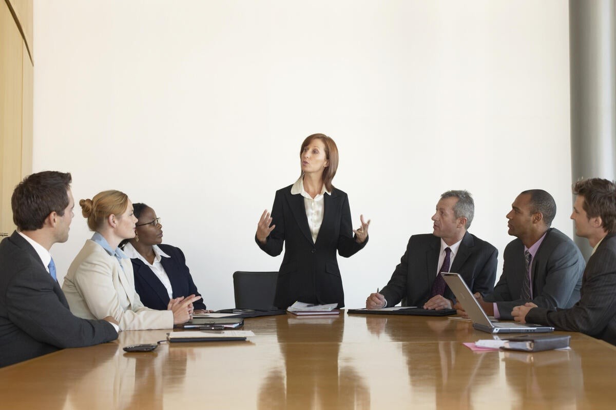 businesswoman speaking during a meeting