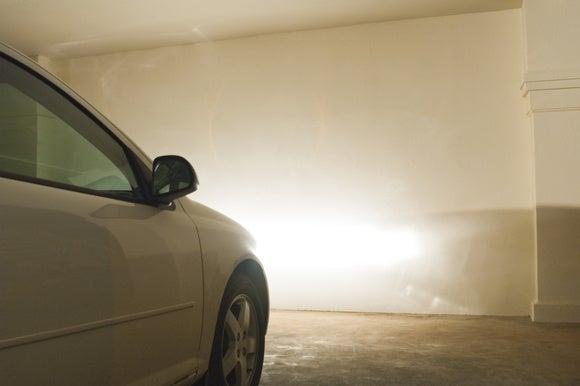 car parking in garage close up