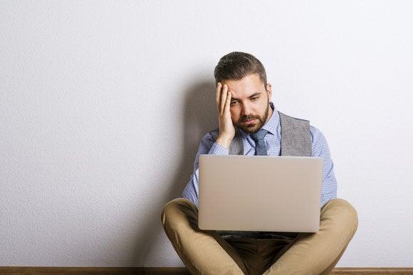 computer frustration man