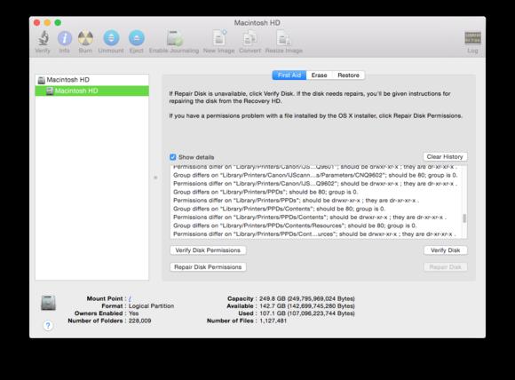 disk utility verify