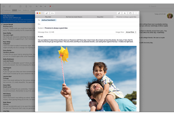 el capitan apple mail tabbed compose macbook 2