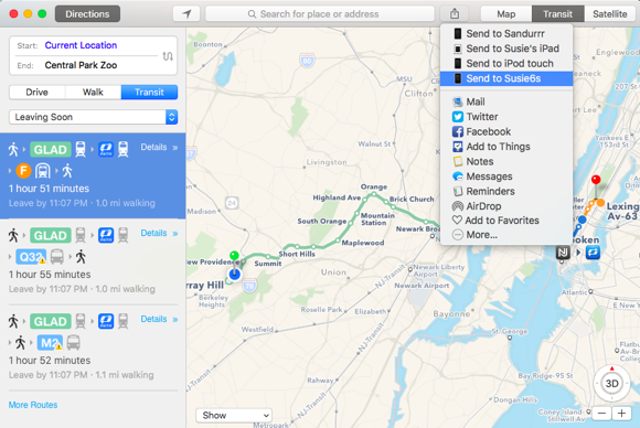 el capitan maps transit directions share