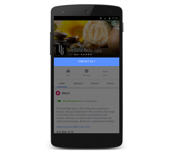 facebook pages redesign contact us