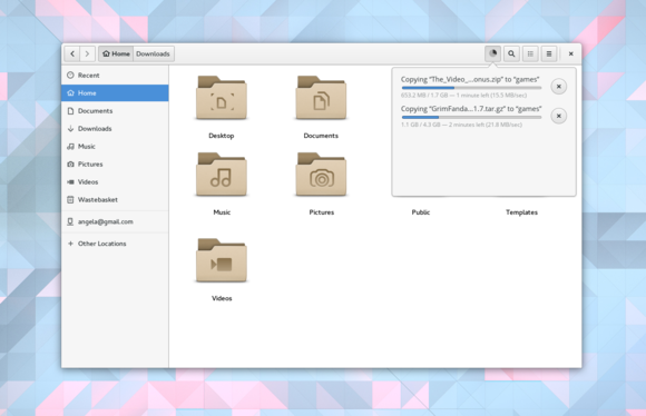 files transfers GNOME 3.18