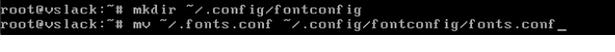 fontconfig warning mkdir and mv commands