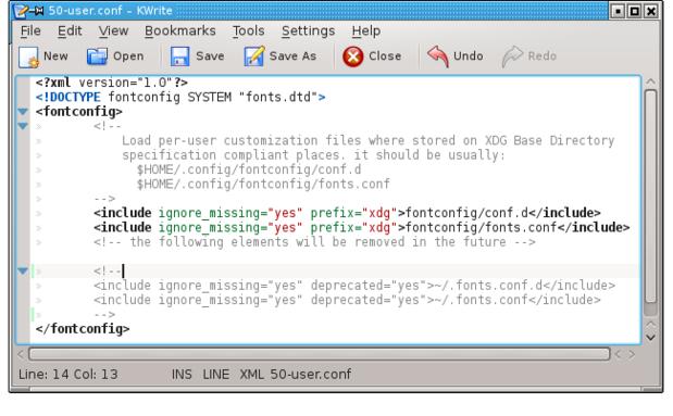 fontconfig warning edit 50-user conf