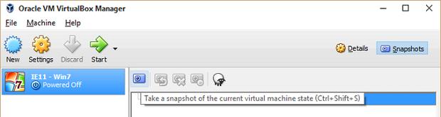 free windows vms virtualbox snapshot