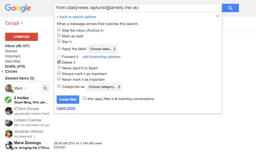 Googles gmail finally adds the ability to block email but theres gmail email filtering altavistaventures Gallery
