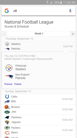 google now nfl