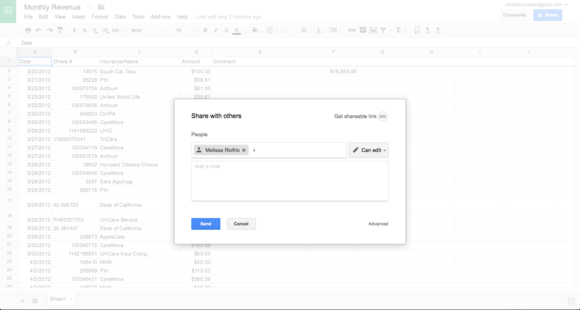 google sheets sharing