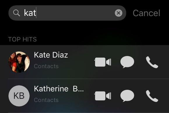ios 9 call contacts from spotlight search