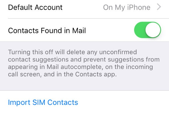ios 9 contacts found in mail