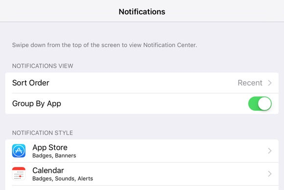 ios 9 notifications group by app