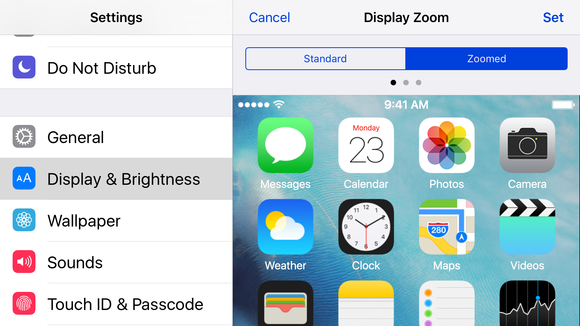 ios9 landscape display zoom
