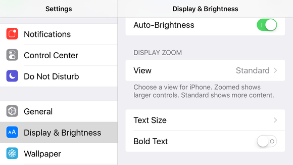 ios9 landscape displays brightness