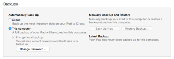 itunes secure ios backup