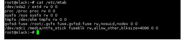 Linux NTFS cat mtab