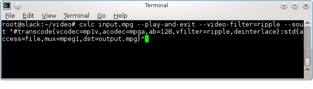 Linux VLC commands simple filter command