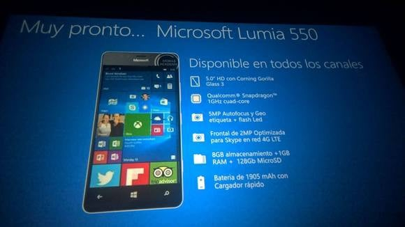 lumia 550 slide