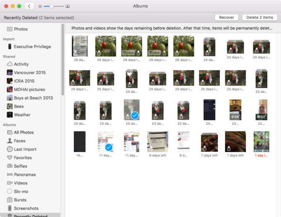 mac911 photos recently deleted