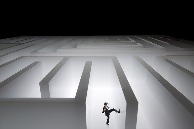 maze kicking wall lost angry stuck