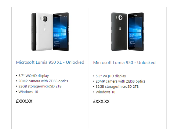 Oops! Microsoft accidentally leaks Lumia 950 and 950XL Windows 10 Phone details