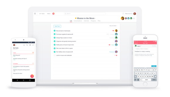 Asana on web, iOS and Android