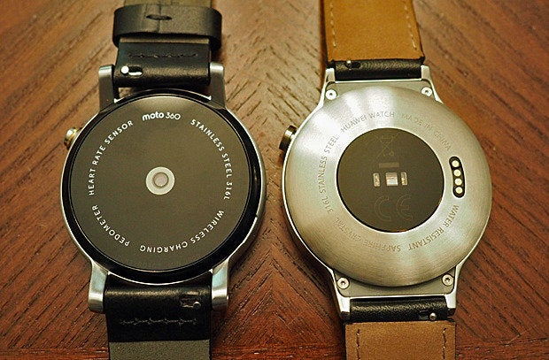 New Moto 360 vs Huawei Watch: Backs