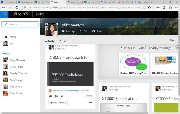 Office 2016 - Delve feature