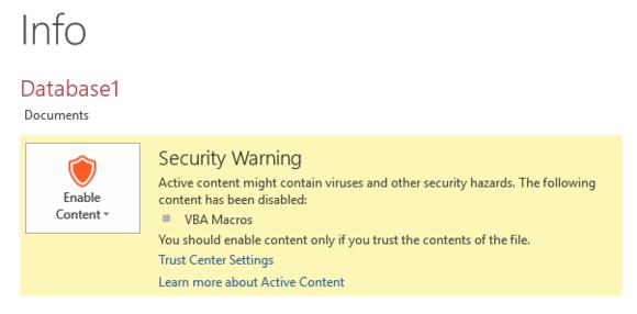 office 2016 access warning