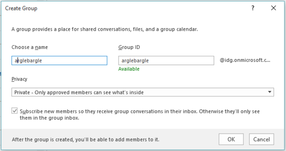 office 2016 review create group