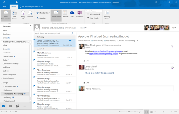 office 2016 review outlook groups