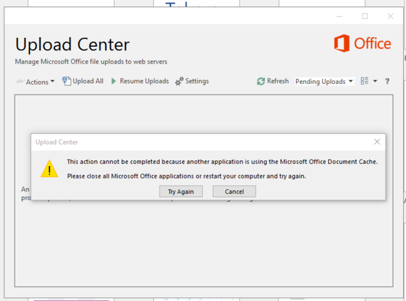 office 2016 review upload error
