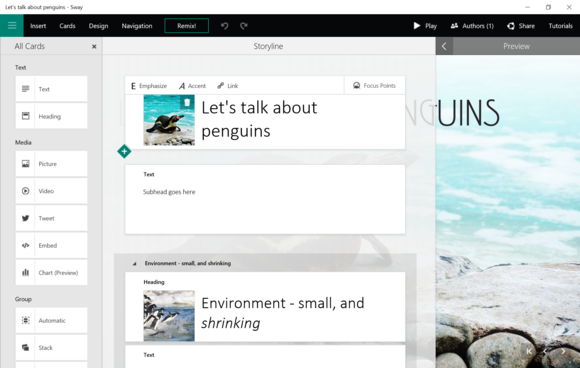 office 2016 sway construct
